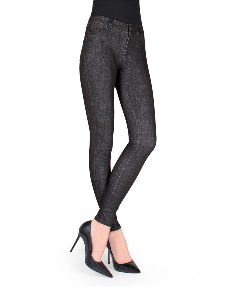 MeMoi Black Unbottled Denim Jean Leggings (front view) | Women's Jeggings - Premium Jean Leggings