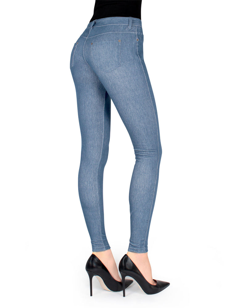 MeMoi Light Washed Unbottled Denim Jean Leggings | Women's Denim Leggings - Premium Jean Leggings