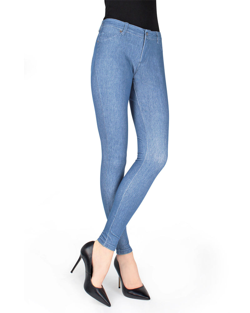 MeMoi Light Wash Unbottled Denim Jean Leggings (front view) | Women's Jeggings - Premium Jean Leggings