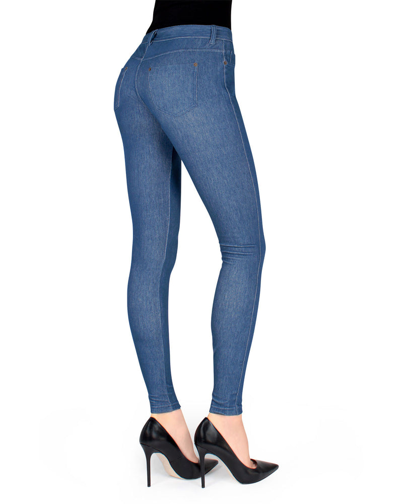 MeMoi Blue Unbottled Denim Jean Leggings | Women's Denim Leggings - Premium Jean Leggings