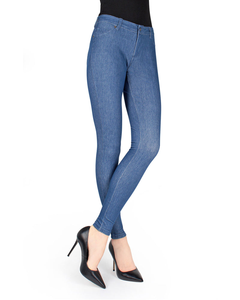 MeMoi Medium Wash Unbottled Denim Jean Leggings (front view) | Women's Jeggings - Premium Jean Leggings