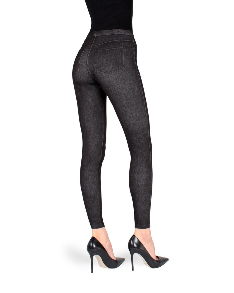 MeMoi Black Bustle Denim Jean Leggings | Women's Premium Jean Leggings