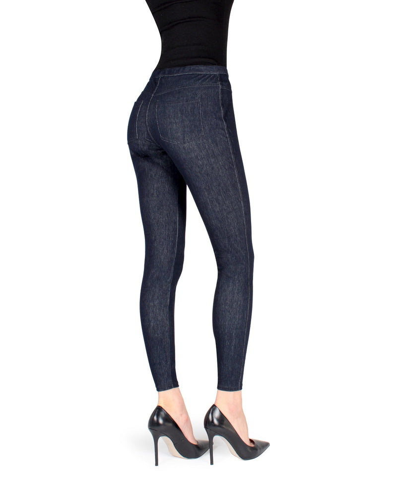 MeMoi Blue Bustle Denim Jean Leggings | Women's Premium Jean Leggings