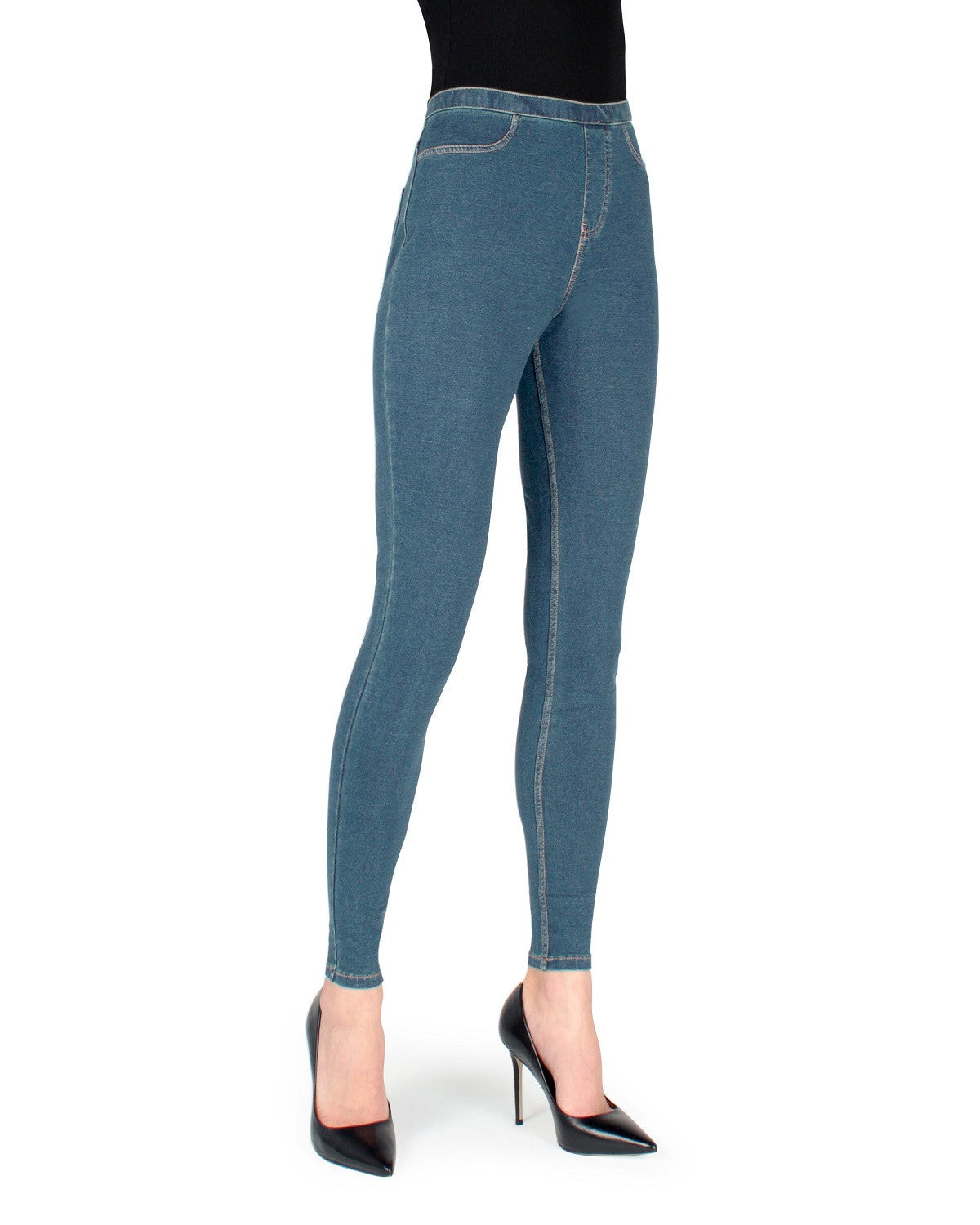 Alta Denim Leggings by MeMoi - Light Wash - Front View -MQ-005 Light Wash-