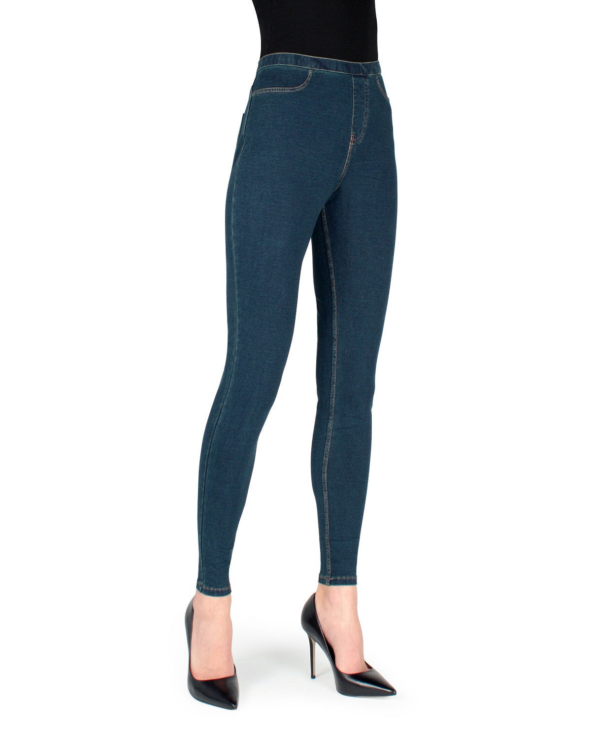 Alta Denim Leggings by MeMoi - Medium Wash - Front View -MQ-005 Medium Wash-