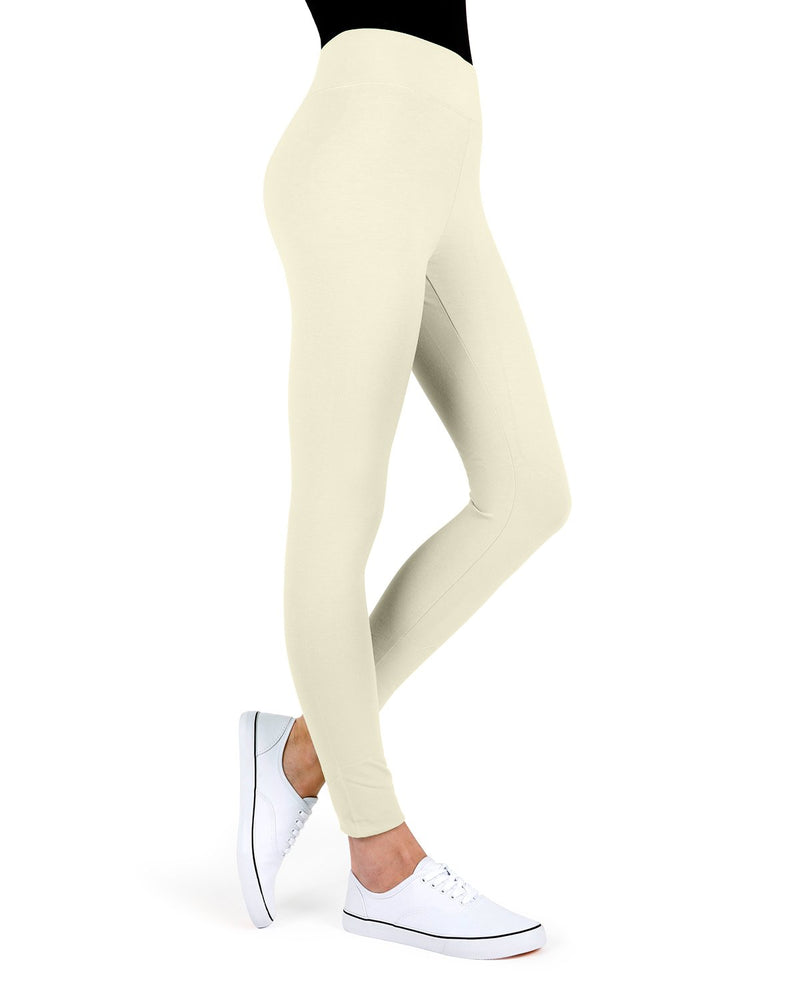 MeMoi Ivory Cotton-Blend Yoga Pants | Women's Premium Women's Sports Leggings