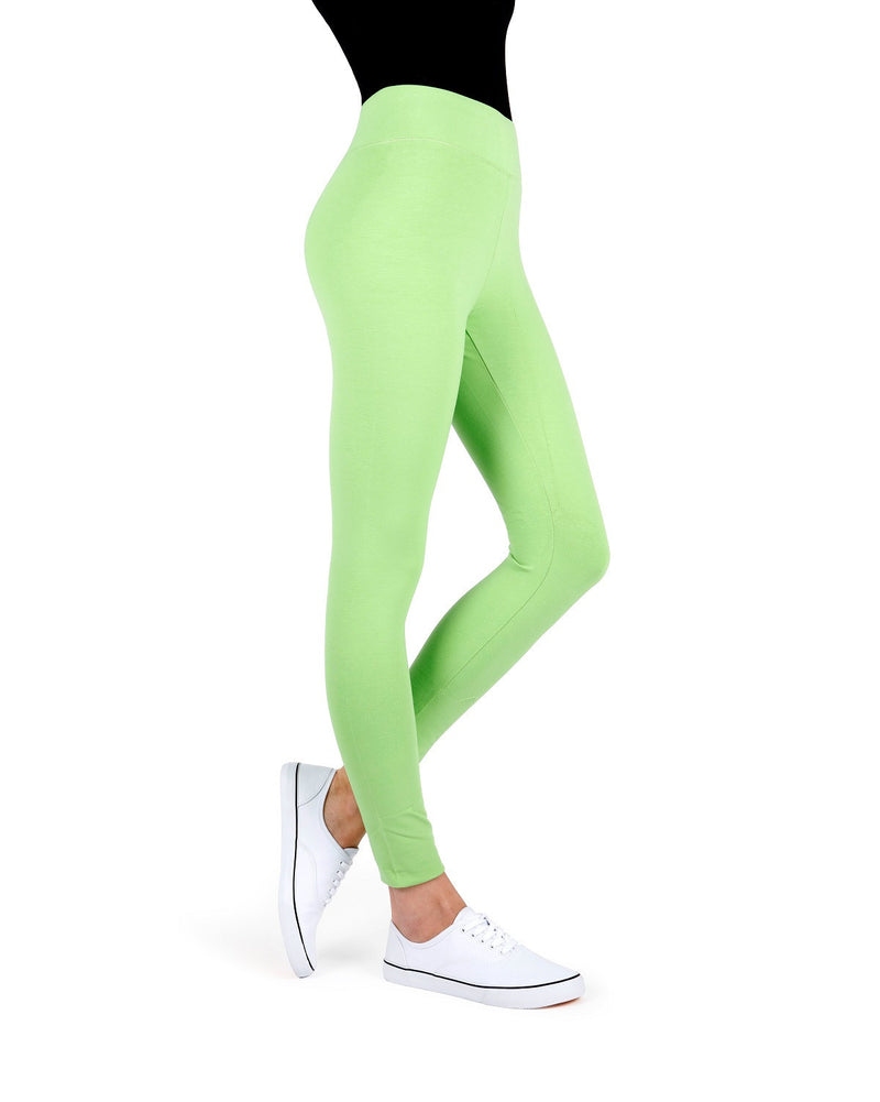 MeMoi Jade Lime Cotton-Blend Yoga Pants | Women's Premium Women's Sports Leggings