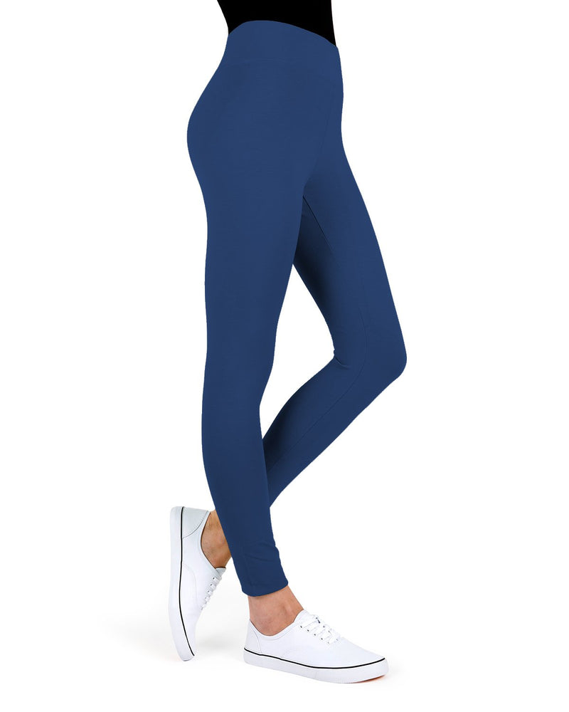 MeMoi Moroccan Blue Cotton-Blend Yoga Pants | Women's Premium Women's Sports Leggings