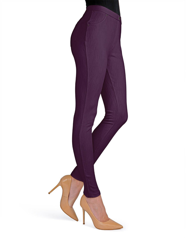 Memoi Blackberry Wine Lisse Chino Leggings | Women's Hosiery - Premium Leggings