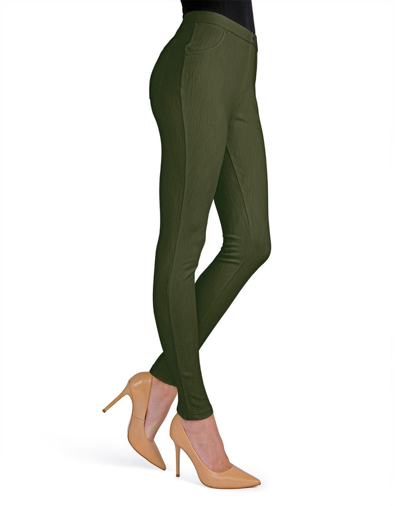 Memoi Ivy Green Lisse Chino Leggings | Women's Pants - Premium Leggings