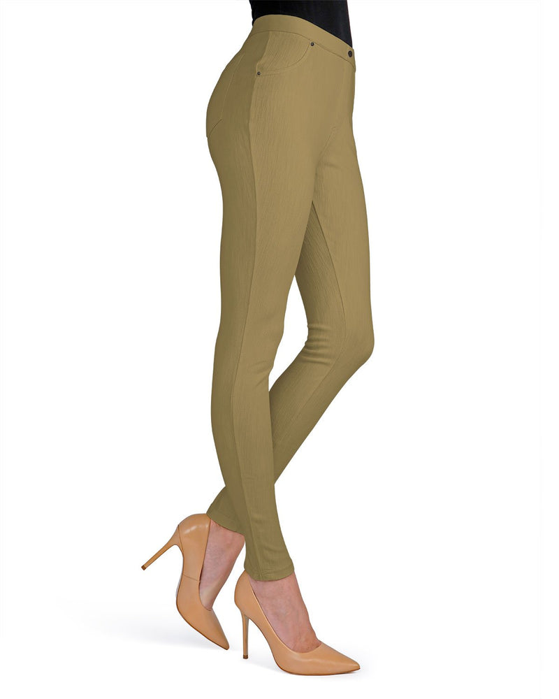 Memoi Khaki Lisse Chino Leggings | Women's Pants - Premium Leggings