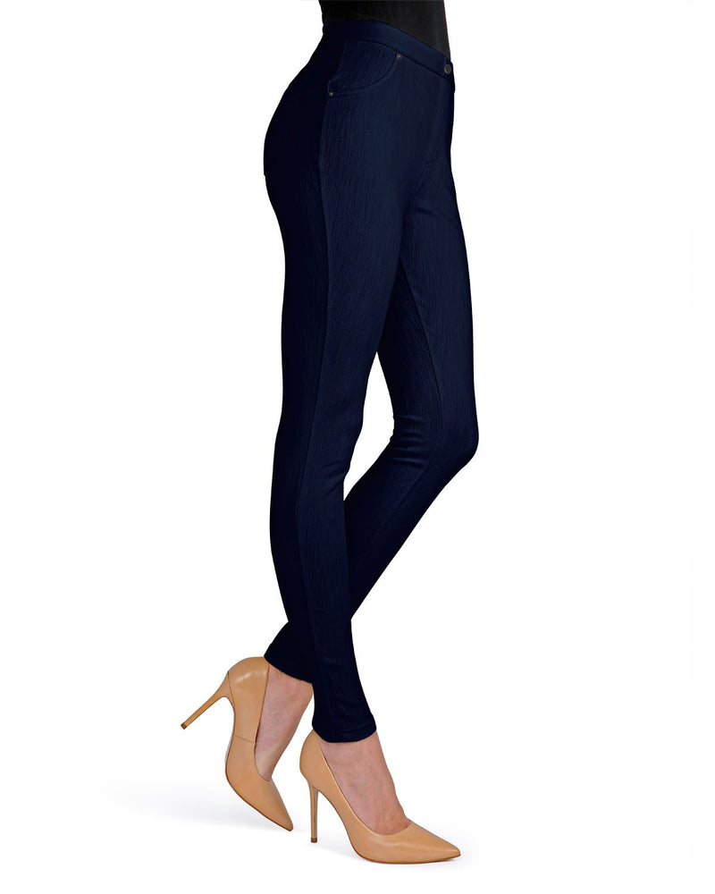 Memoi Navy Lisse Chino Leggings | Women's Pants - Premium Leggings