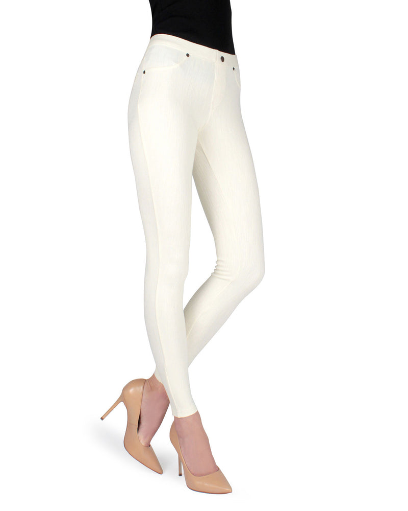 Memoi Ivory (2) Lisse Chino Leggings | Women's Pants - Premium Leggings