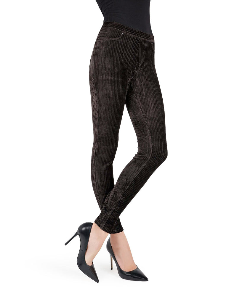 Memoi black Royal Ease Wide-Rib Stretch Corduroy Legging | Women's Premium Stretch Corduroy Leggings