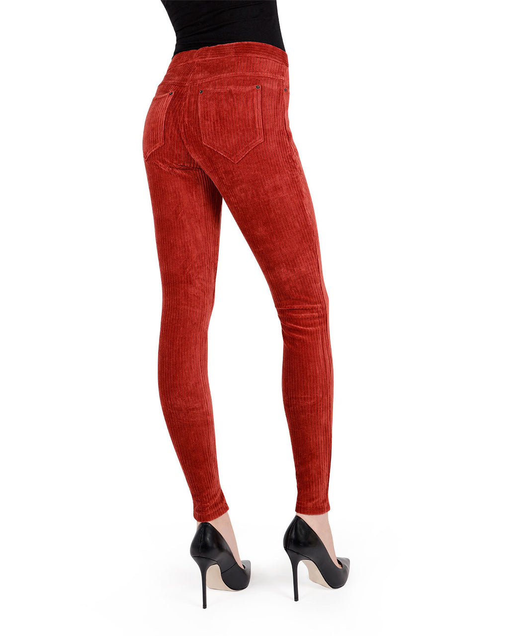 Memoi Fired Brick Royal Ease Wide-Rib Corduroy Legging | Women's Premium Stretch Corduroy Leggings Stretch