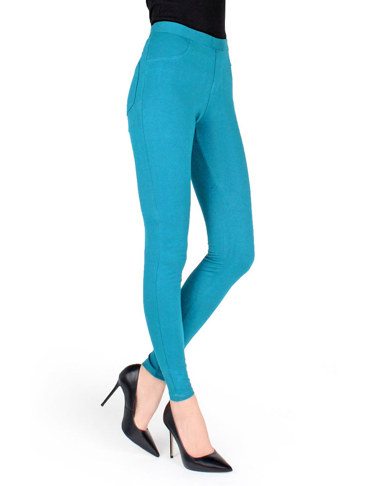 Memoi Pagoda Blue Pond Miro Cotton Blend Leggings | Women's Premium Fashion Leggings | Womens Clothing