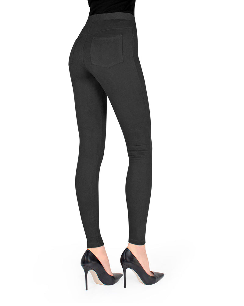 Memoi Black Miro Cotton Blend Leggings | Women's Premium Fashion Leggings | Womens Clothing