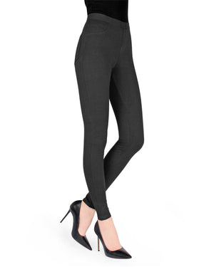 Memoi Black (2) Miro Cotton Blend Leggings | Women's Hosiery - Premium Leggings