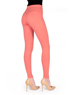 Memoi Coral Miro Cotton Blend Leggings | Women's Hosiery - Premium Leggings