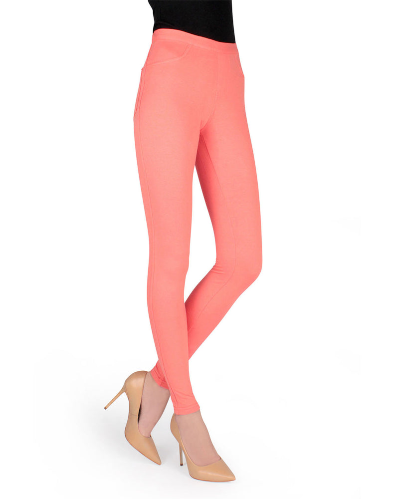 Memoi Coral (2) Miro Cotton Blend Leggings | Women's Premium Fashion Leggings | Womens Clothing