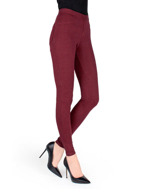 Memoi Tawny Port Miro Cotton Blend Leggings | Women's Hosiery - Premium Leggings
