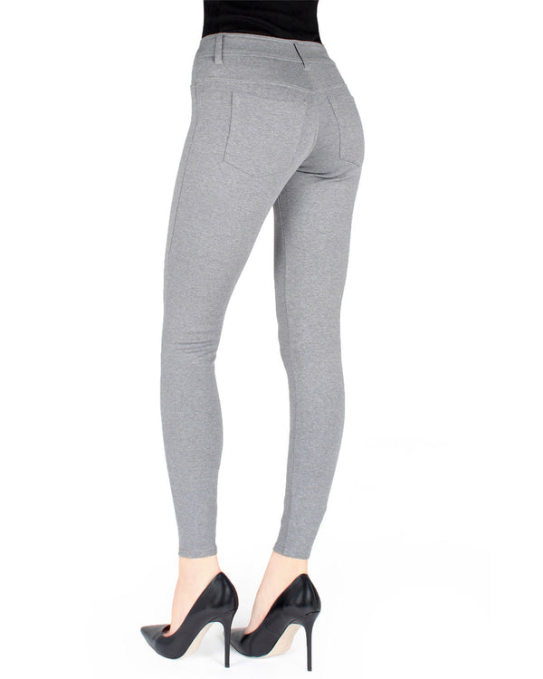 Memoi Med Gray Heather Pants-Style Ponte Leggings | Women's Premium Basic Fashion Leggings