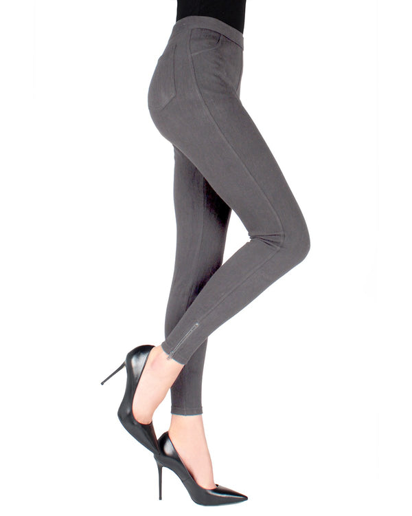 MeMoi Grey Zipper Ankle Jean Leggings | Women's Fashion Jean Leggings | Jeggings