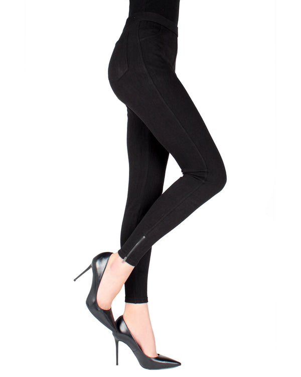 MeMoi Black Zipper Ankle Jean Leggings | Women's Fashion Jean Leggings | Jeggings