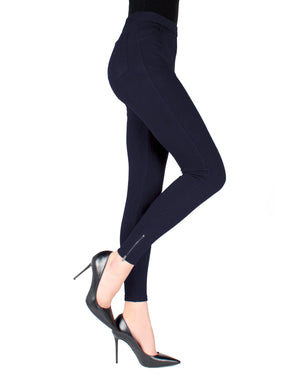 MeMoi Dark Navy Zipper Ankle Jean Leggings | Women's Fashion Jean Leggings | Jeggings