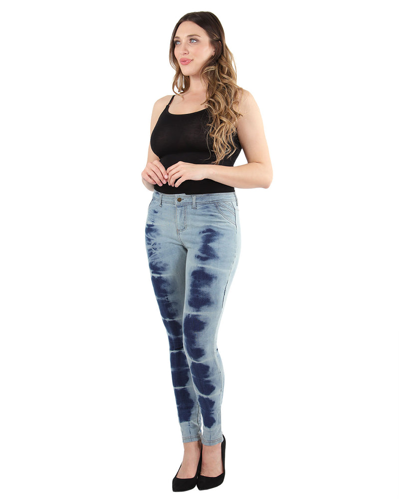 Vintage 80s Style Acid Wash Jeans | MeMoi Women's Jean Leggings - Jeggings | Blue Denim Jeans MQ-025 - 1