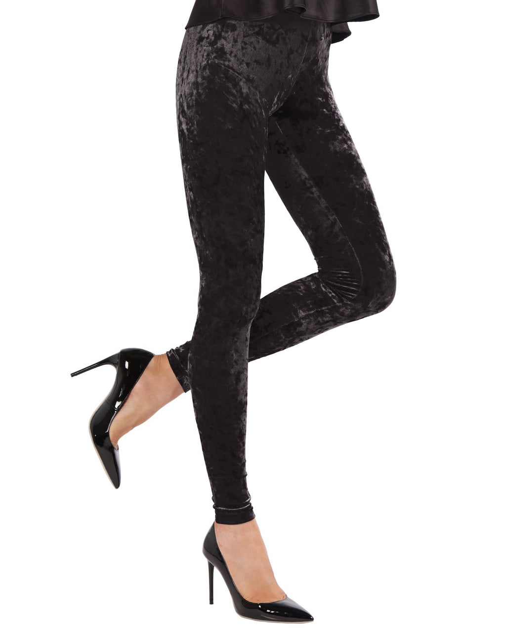 Memoi Black Crushed Velvet Leggings | MeMoi Women's Premium Velvet Leggings