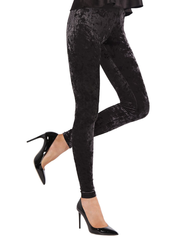 Crushed Velvet Leggings | Velvet Pants Womens by MeMoi | velvet leggings outfit |  Black MQ 029