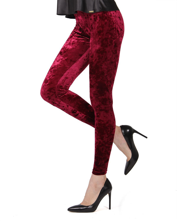 Crushed Velvet Leggings | Velvet Pants Womens by MeMoi | velvet leggings outfit | Burgundy MQ 029