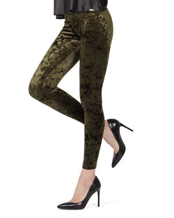 Crushed Velvet Leggings | Velvet Pants Womens by MeMoi | velvet leggings outfit |  Forest Green MQ 029