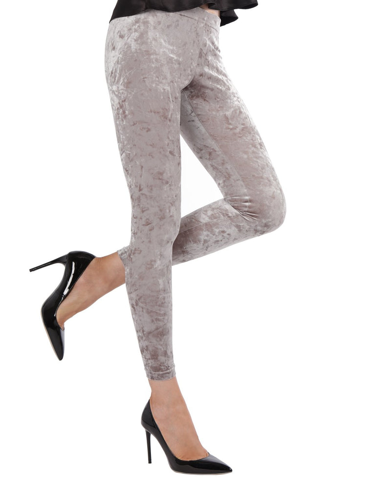 Crushed Velvet Leggings | Velvet Pants Womens by MeMoi | velvet leggings outfit |  Gray MQ 029
