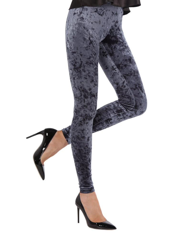 Crushed Velvet Leggings | Velvet Pants Womens by MeMoi | velvet leggings outfit |  Navy MQ 029