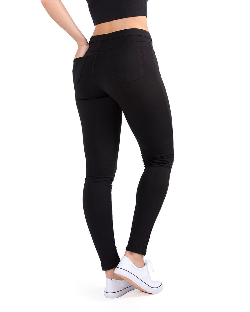 MeMoi French Terry Yoga Pants ( Basic Black Rear) | Women's Sports Leggings