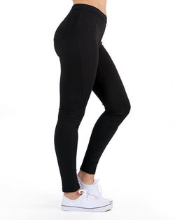 MeMoi French Terry Yoga Pants ( Basic Black Side) | Women's Sports Leggings