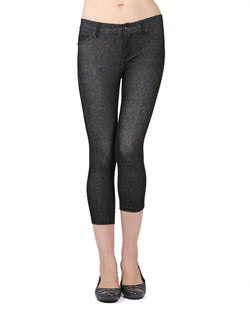 MeMoi Black Denim Zipper Capri Jean Leggings | Women's Premium Jean Leggings