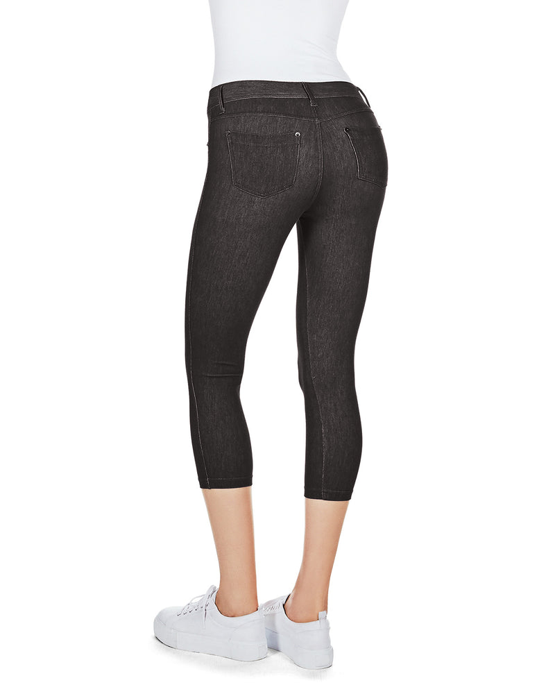 MeMoi Denim Zipper Capri Jean Leggings
