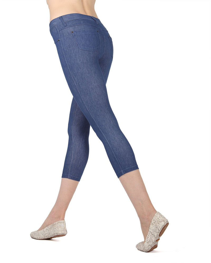 MeMoi Medium Wash Denim Zipper Capri Jean Leggings (side) | Women's Premium Jean Leggings