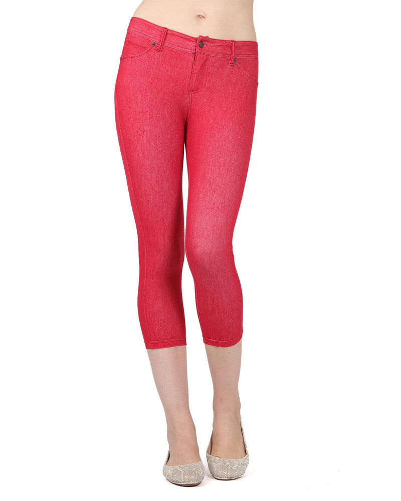 MeMoi Red Denim Zipper Capri Jean Leggings | Women's Premium Jean Leggings