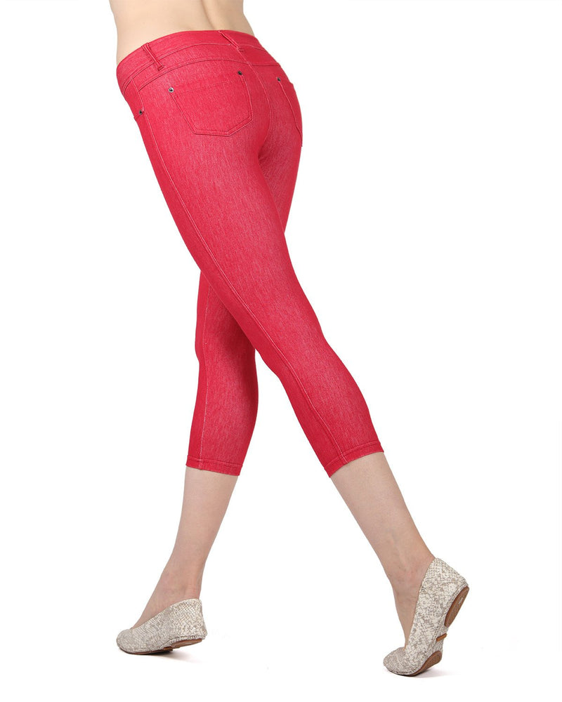 MeMoi Red Denim Zipper Capri Jean Leggings (side) | Women's Premium Jean Leggings