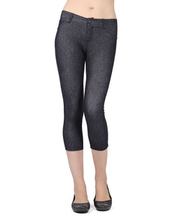 MeMoi Dark Wash Denim Zipper Capri Jean Leggings | Women's Premium Jean Leggings