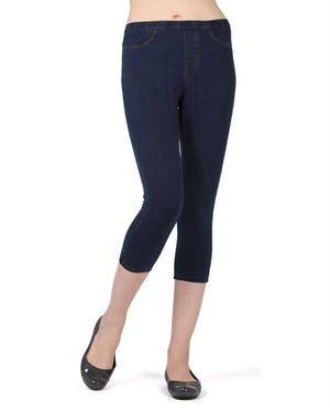 Memoi Dark Wash Priga Denim Capri Legging | Premium Capri Leggings