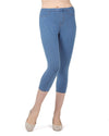Memoi Light Wash Priga Denim Capri Legging | Premium Capri Leggings