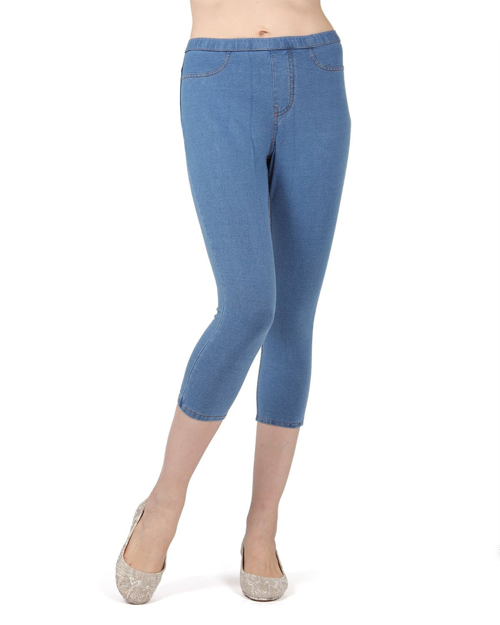 MeMoi Light Wash Priga Denim Capri Jean Leggings | Women's Premium Jean Leggings