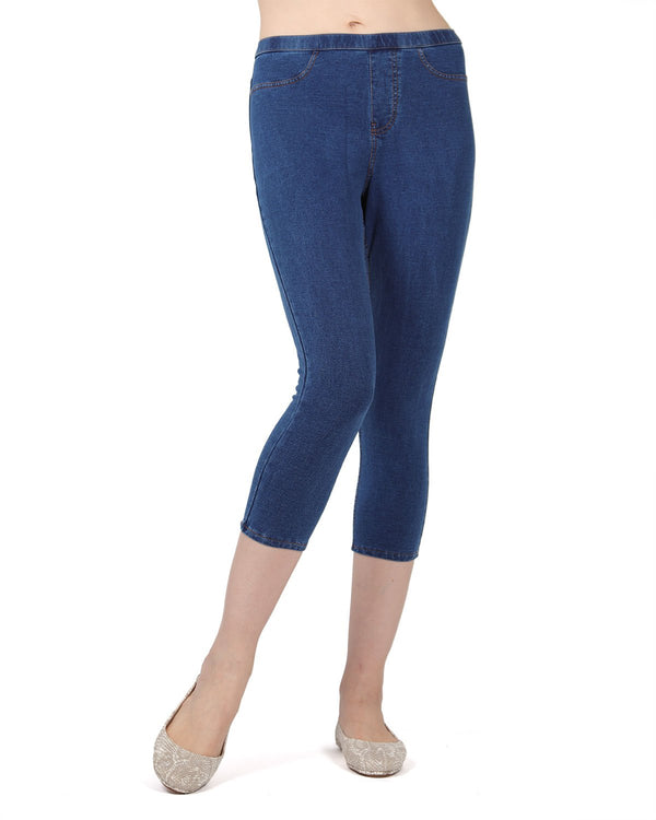 MeMoi Medium Wash Priga Denim Capri Jean Leggings | Women's Premium Jean Leggings