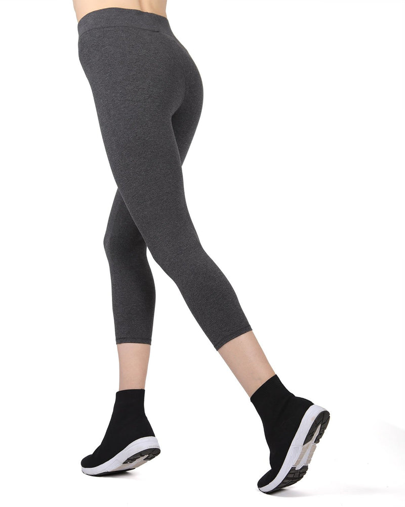 MeMoi Gray Heather Brezza Capri Cotton-Blend Yoga Pants | Women's Sports Leggings | Activewear