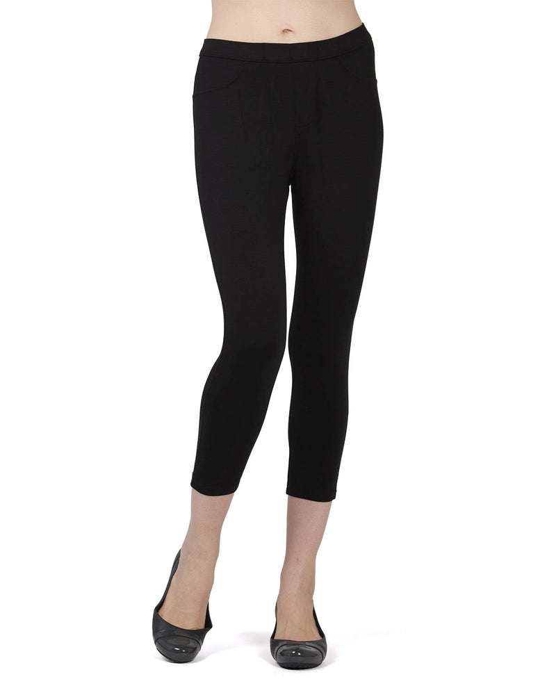 Memoi Black (2) Liscia French Terry Capri | Women's Hosiery - Premium Capri Leggings